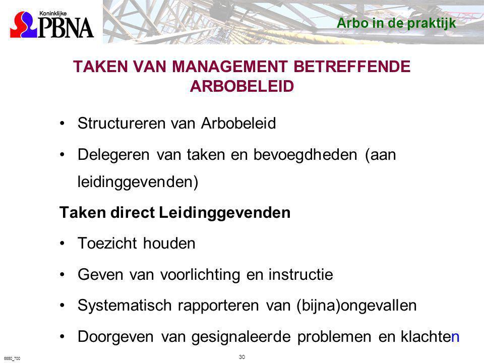 TAKEN VAN MANAGEMENT BETREFFENDE ARBOBELEID Structureren van Arbobeleid Delegeren van taken en bevoegdheden (aan leidinggevenden) Taken direct Leiding