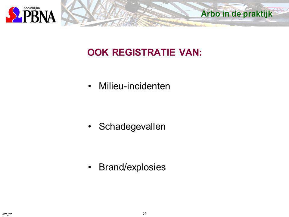 OOK REGISTRATIE VAN: Milieu-incidenten Schadegevallen Brand/explosies 34 6650_700 Arbo in de praktijk