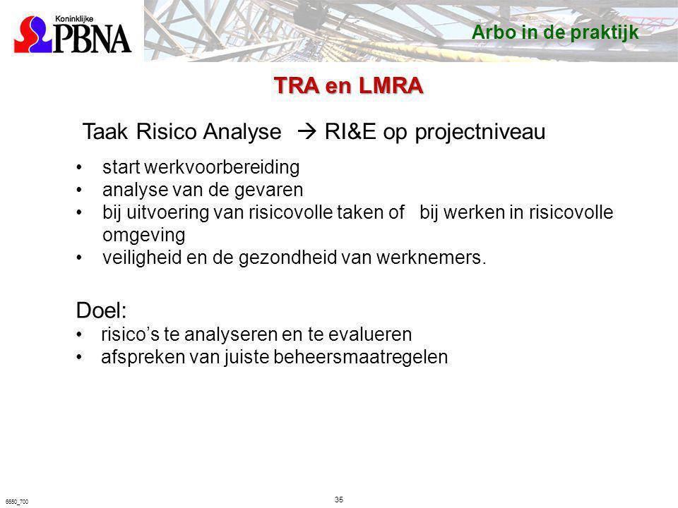 35 6650_700 Taak Risico Analyse  RI&E op projectniveau start werkvoorbereiding analyse van de gevaren bij uitvoering van risicovolle taken of bij wer