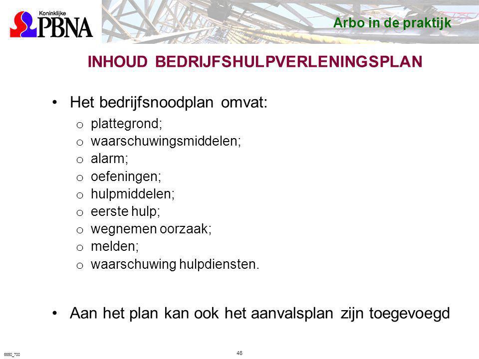 INHOUD BEDRIJFSHULPVERLENINGSPLAN Het bedrijfsnoodplan omvat: o plattegrond; o waarschuwingsmiddelen; o alarm; o oefeningen; o hulpmiddelen; o eerste