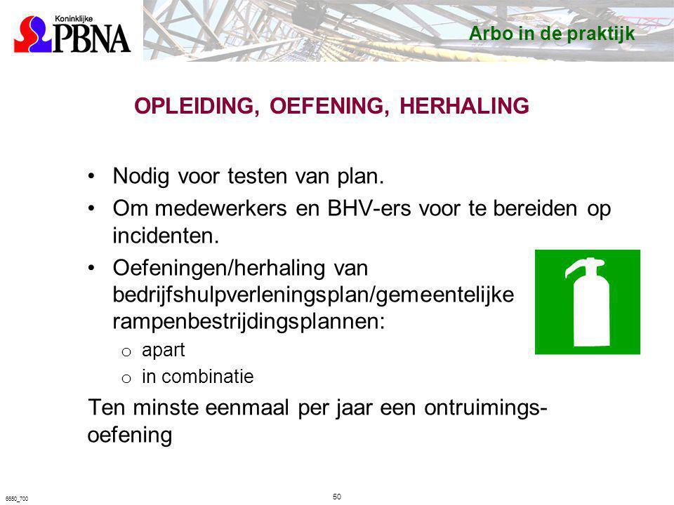 OPLEIDING, OEFENING, HERHALING Nodig voor testen van plan. Om medewerkers en BHV-ers voor te bereiden op incidenten. Oefeningen/herhaling van bedrijfs