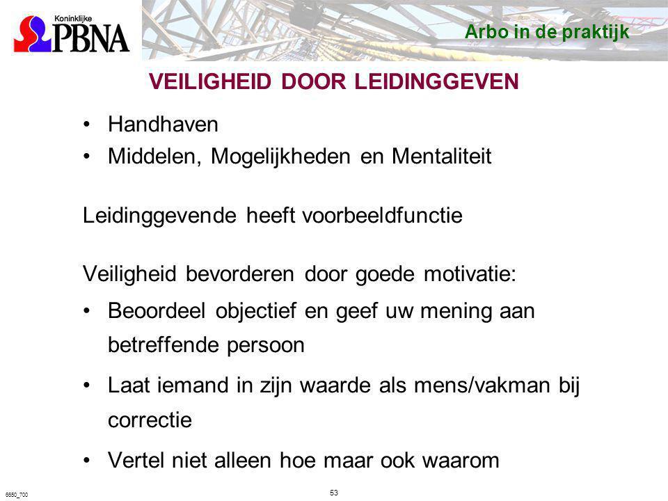 VEILIGHEID DOOR LEIDINGGEVEN Handhaven Middelen, Mogelijkheden en Mentaliteit Leidinggevende heeft voorbeeldfunctie Veiligheid bevorderen door goede m