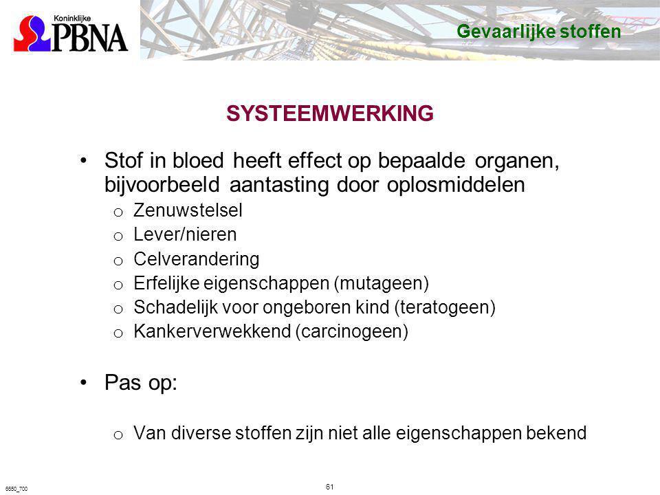 SYSTEEMWERKING Stof in bloed heeft effect op bepaalde organen, bijvoorbeeld aantasting door oplosmiddelen o Zenuwstelsel o Lever/nieren o Celveranderi