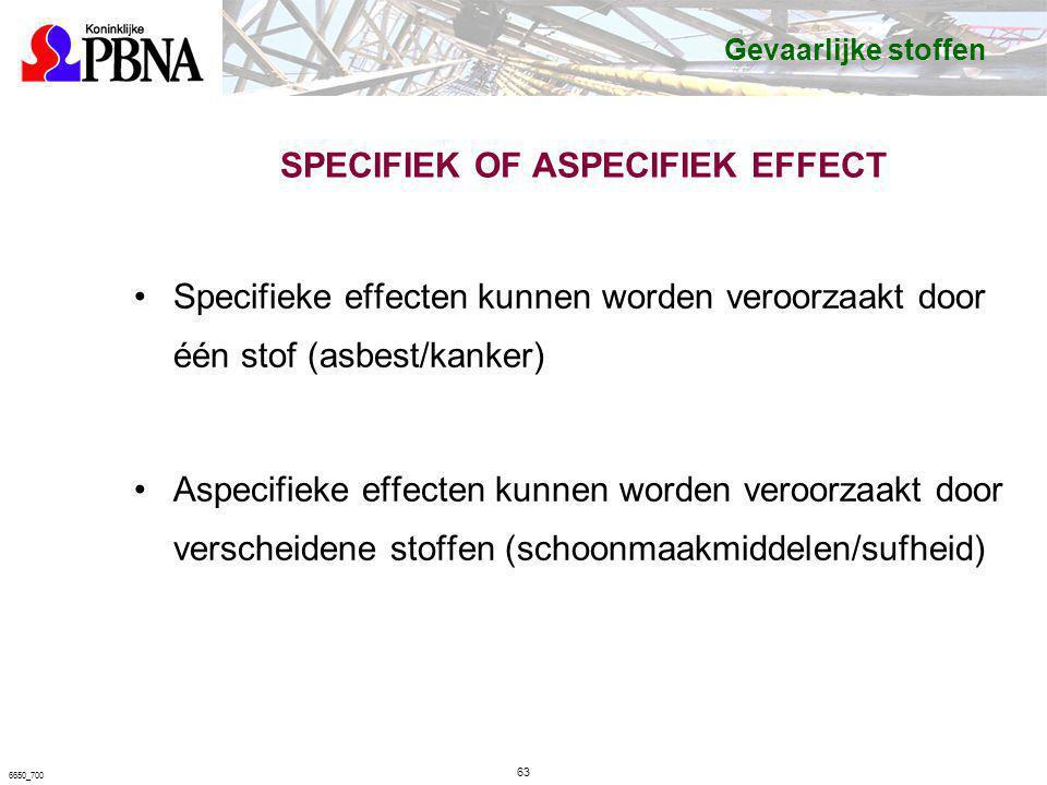 SPECIFIEK OF ASPECIFIEK EFFECT Specifieke effecten kunnen worden veroorzaakt door één stof (asbest/kanker) Aspecifieke effecten kunnen worden veroorza