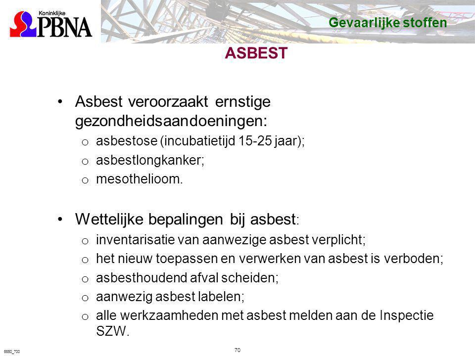 ASBEST Asbest veroorzaakt ernstige gezondheidsaandoeningen: o asbestose (incubatietijd 15-25 jaar); o asbestlongkanker; o mesothelioom. Wettelijke bep