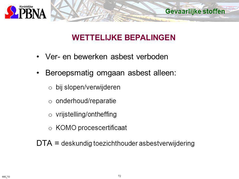 WETTELIJKE BEPALINGEN Ver- en bewerken asbest verboden Beroepsmatig omgaan asbest alleen: o bij slopen/verwijderen o onderhoud/reparatie o vrijstellin
