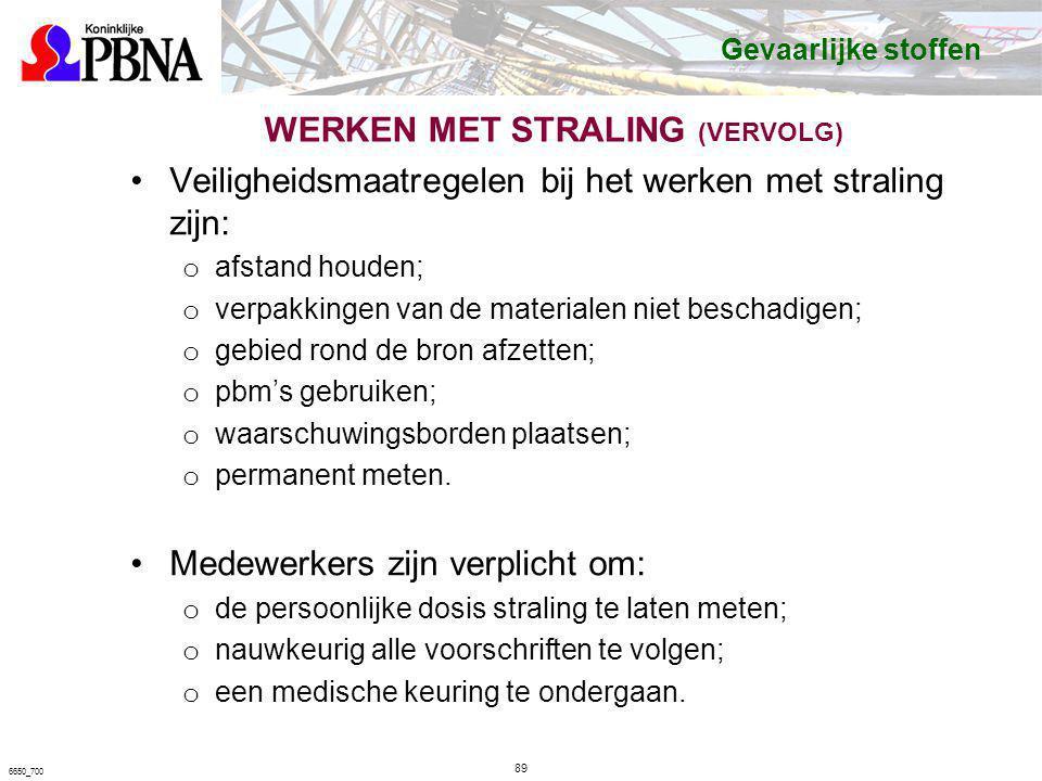 WERKEN MET STRALING (VERVOLG) Veiligheidsmaatregelen bij het werken met straling zijn: o afstand houden; o verpakkingen van de materialen niet beschad