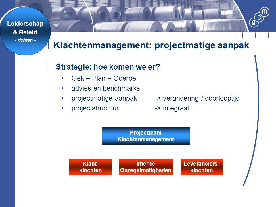 Klachtenmanagement: projectmatige aanpak Klant- klachten Interne Onregelmatigheden Leveranciers- klachten Projectteam Klachtenmanagement  Strategie:
