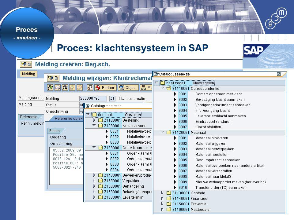 Proces: klachtensysteem in SAP Proces - inrichten -