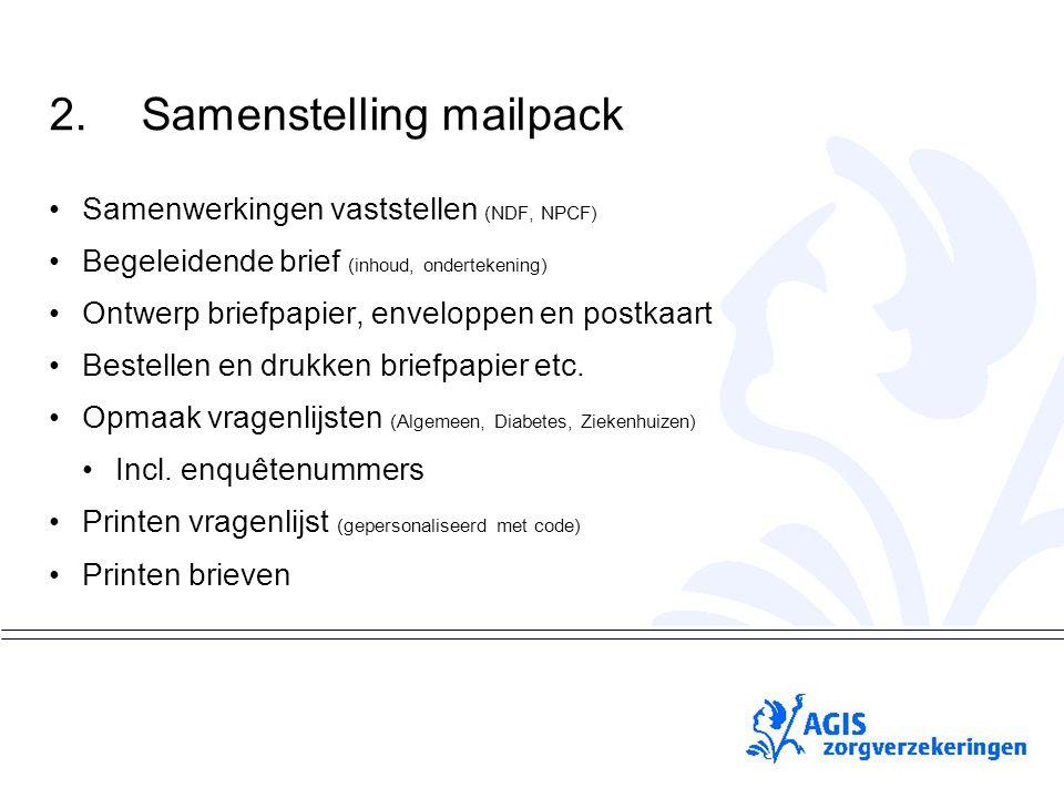 pS 2.Samenstelling mailpack Samenwerkingen vaststellen (NDF, NPCF) Begeleidende brief (inhoud, ondertekening) Ontwerp briefpapier, enveloppen en postkaart Bestellen en drukken briefpapier etc.