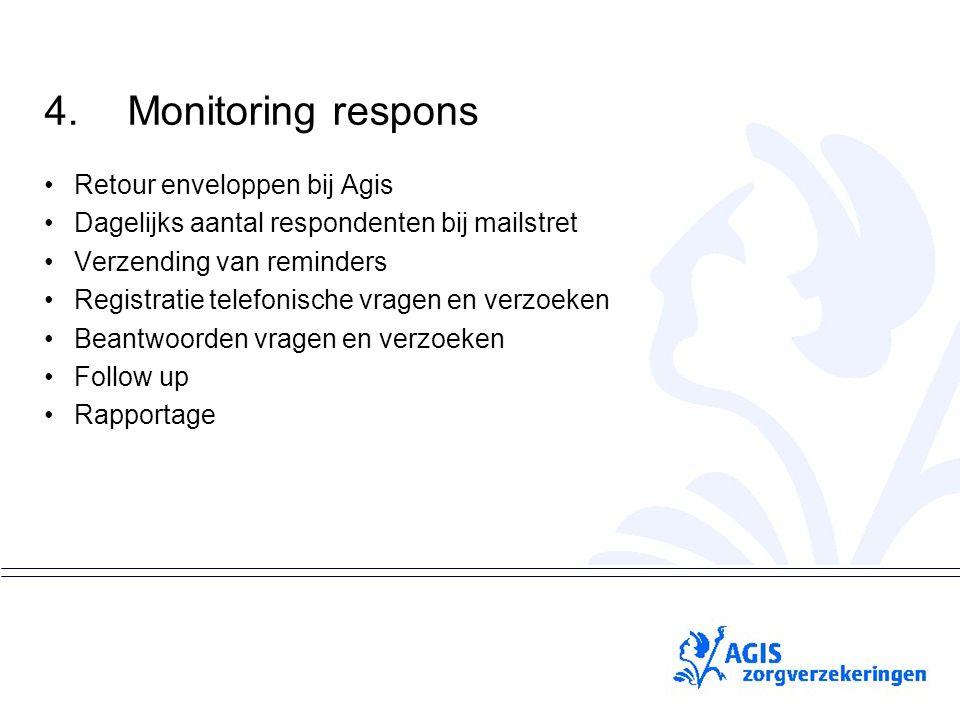 pS 4.Monitoring respons Retour enveloppen bij Agis Dagelijks aantal respondenten bij mailstret Verzending van reminders Registratie telefonische vrage