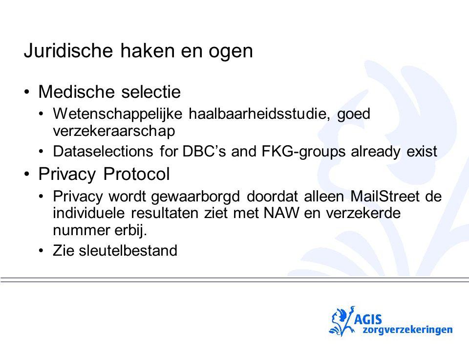 pS Juridische haken en ogen Medische selectie Wetenschappelijke haalbaarheidsstudie, goed verzekeraarschap Dataselections for DBC's and FKG-groups alr