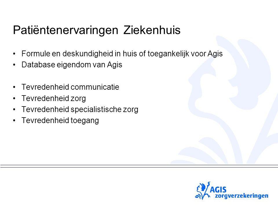 pS Patiëntenervaringen Ziekenhuis Formule en deskundigheid in huis of toegankelijk voor Agis Database eigendom van Agis Tevredenheid communicatie Tevredenheid zorg Tevredenheid specialistische zorg Tevredenheid toegang