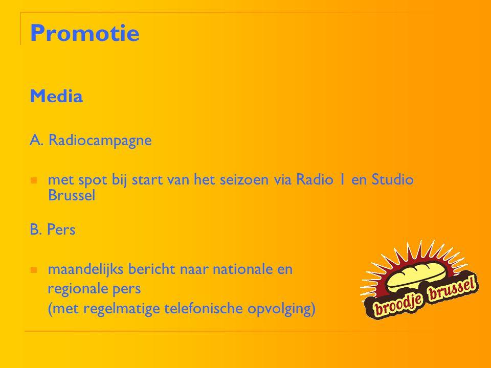 Promotie Media A. Radiocampagne met spot bij start van het seizoen via Radio 1 en Studio Brussel B. Pers maandelijks bericht naar nationale en regiona