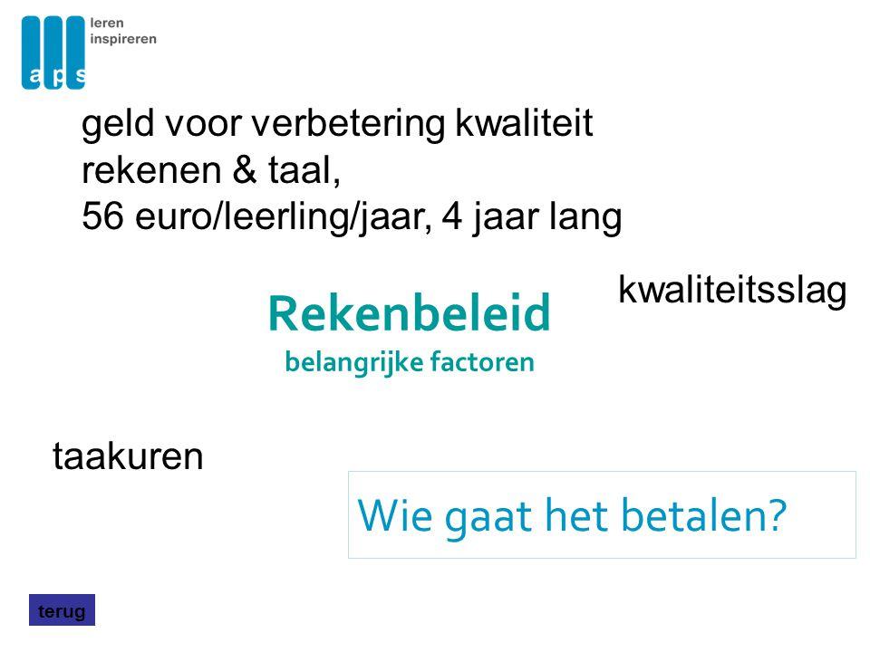 Rekenbeleid belangrijke factoren Wie gaat het betalen? terug taakuren geld voor verbetering kwaliteit rekenen & taal, 56 euro/leerling/jaar, 4 jaar la