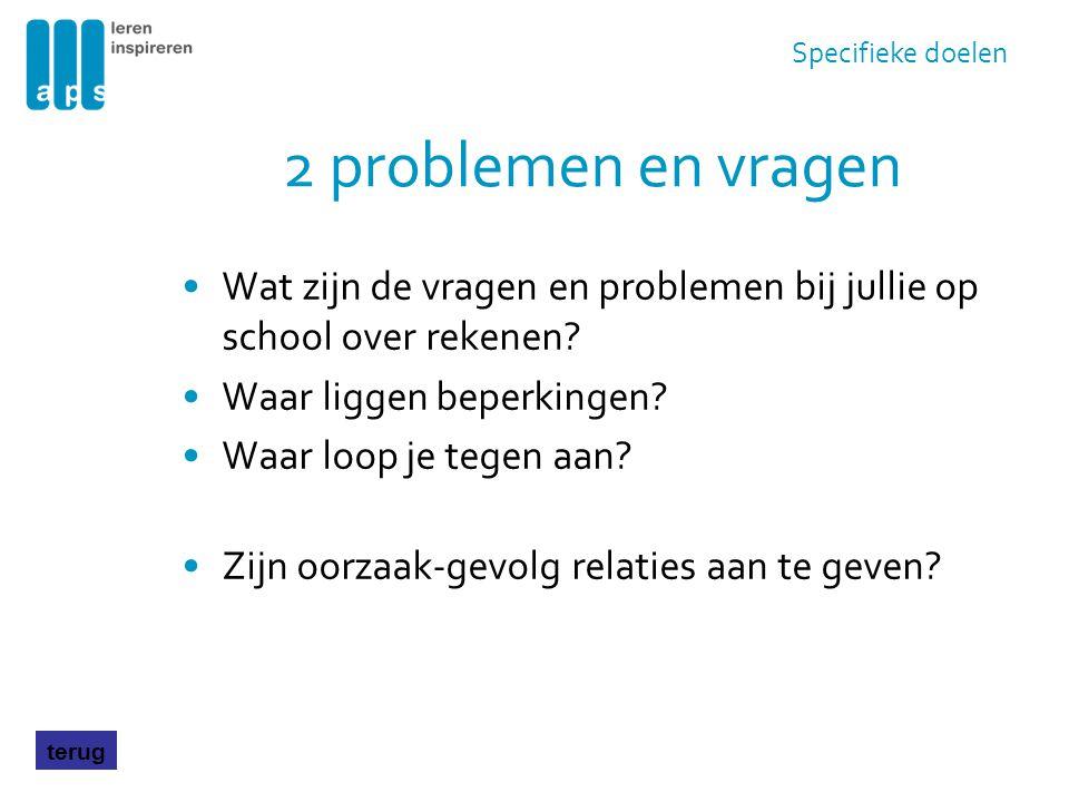2 problemen en vragen Wat zijn de vragen en problemen bij jullie op school over rekenen? Waar liggen beperkingen? Waar loop je tegen aan? Zijn oorzaak