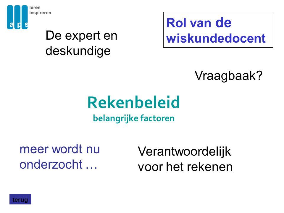 Rekenbeleid belangrijke factoren terug Voorbeelden van rekenbeleid op scholen Nova College Amsterdam Enquete, andere vakken Da Vinci Roosendaal Stedelijk College Eindhoven, groep SLO-netwerk met 10 scholen Inventarisatie middels enquete