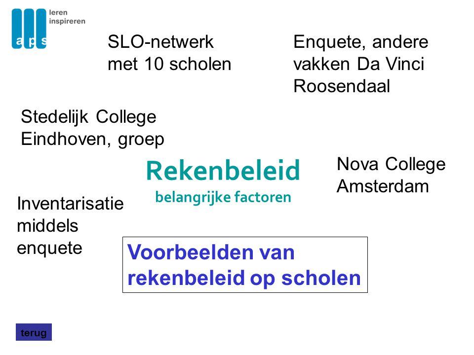 Rekenbeleid belangrijke factoren terug Voorbeelden van rekenbeleid op scholen Nova College Amsterdam Enquete, andere vakken Da Vinci Roosendaal Stedel
