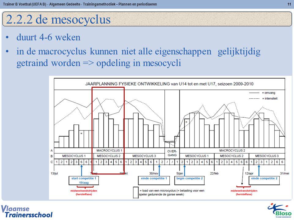 duurt 4-6 weken in de macrocyclus kunnen niet alle eigenschappen gelijktijdig getraind worden => opdeling in mesocycli 2.2.2 de mesocyclus 11Trainer B