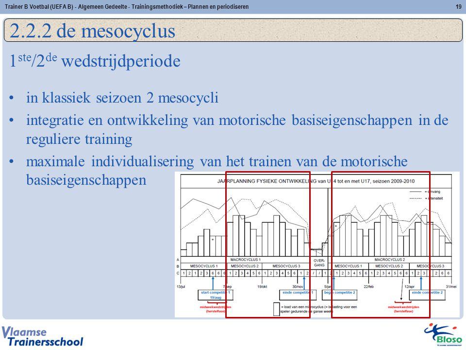 1 ste /2 de wedstrijdperiode in klassiek seizoen 2 mesocycli integratie en ontwikkeling van motorische basiseigenschappen in de reguliere training max