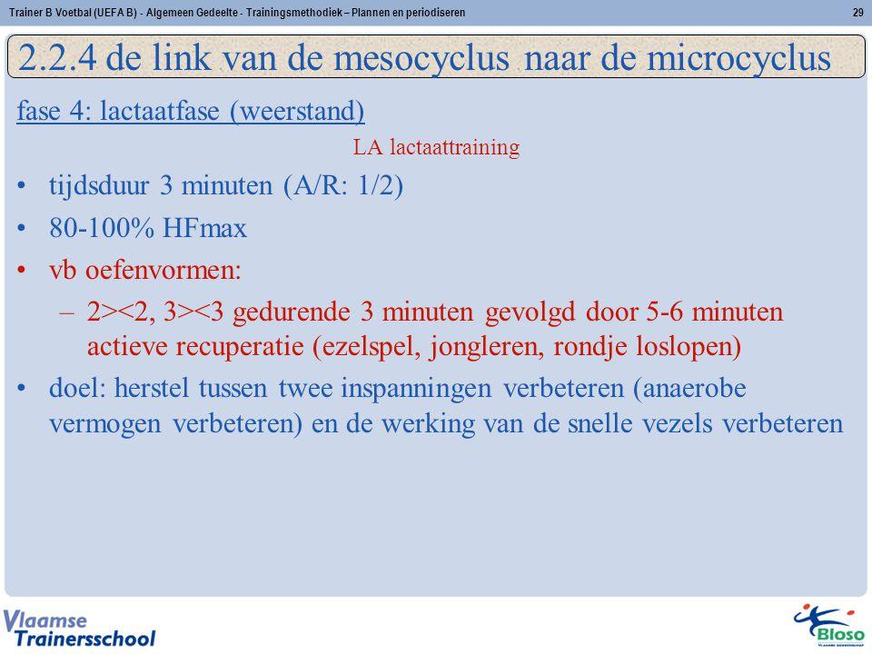 fase 4: lactaatfase (weerstand) LA lactaattraining tijdsduur 3 minuten (A/R: 1/2) 80-100% HFmax vb oefenvormen: –2> <3 gedurende 3 minuten gevolgd doo