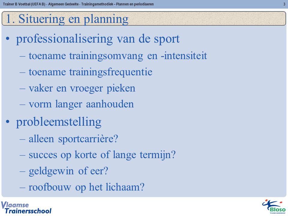 professionalisering van de sport –toename trainingsomvang en -intensiteit –toename trainingsfrequentie –vaker en vroeger pieken –vorm langer aanhouden