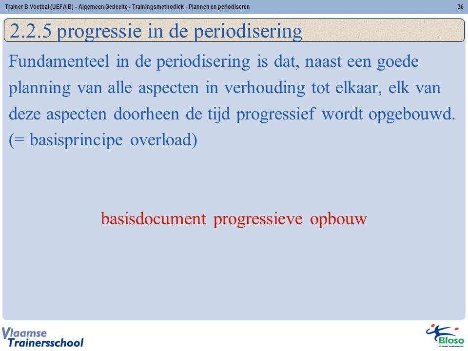 Fundamenteel in de periodisering is dat, naast een goede planning van alle aspecten in verhouding tot elkaar, elk van deze aspecten doorheen de tijd p