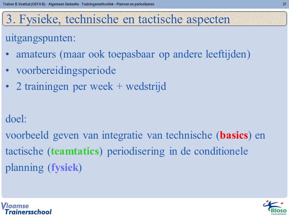 Trainer B Voetbal (UEFA B) - Algemeen Gedeelte - Trainingsmethodiek – Plannen en periodiseren37 3. Fysieke, technische en tactische aspecten uitgangsp