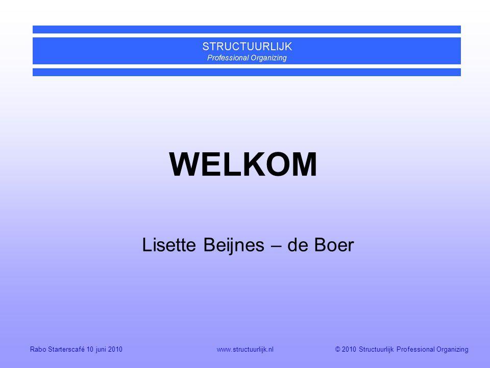 © 2010 Structuurlijk Professional OrganizingRabo Starterscafé 10 juni 2010www.structuurlijk.nl WELKOM Lisette Beijnes – de Boer