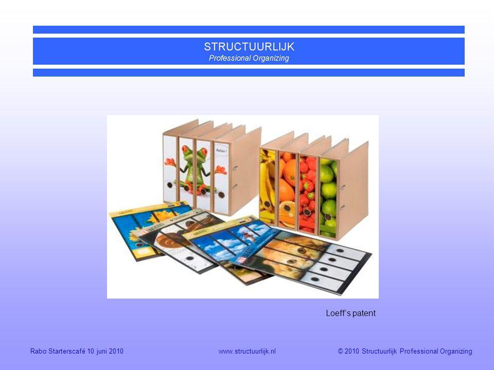© 2010 Structuurlijk Professional OrganizingRabo Starterscafé 10 juni 2010www.structuurlijk.nl Loeff's patent