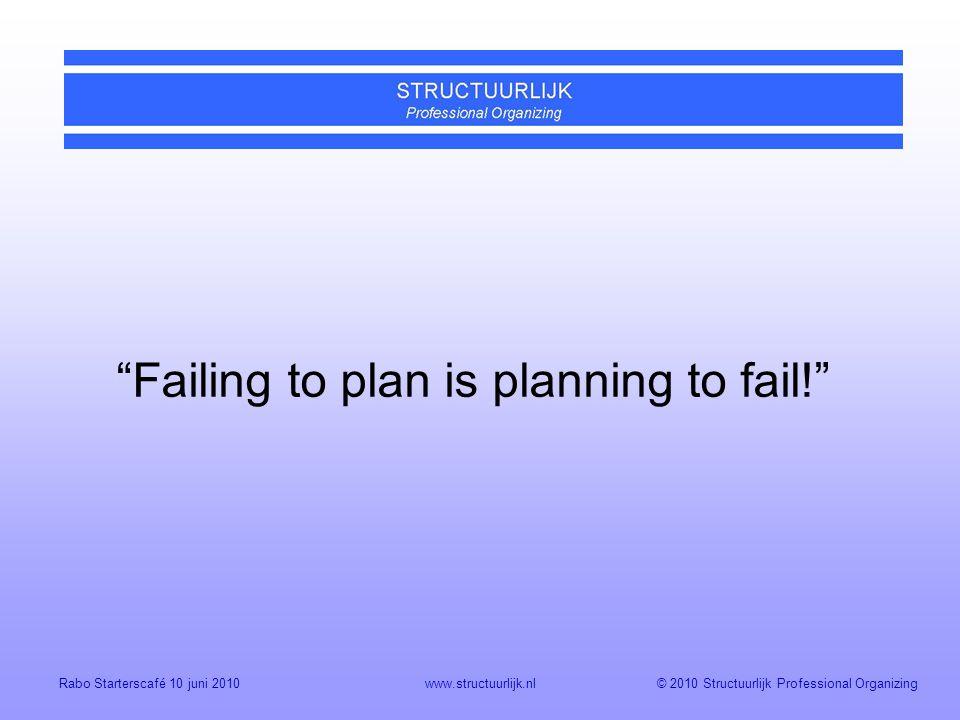© 2010 Structuurlijk Professional OrganizingRabo Starterscafé 10 juni 2010www.structuurlijk.nl Failing to plan is planning to fail!