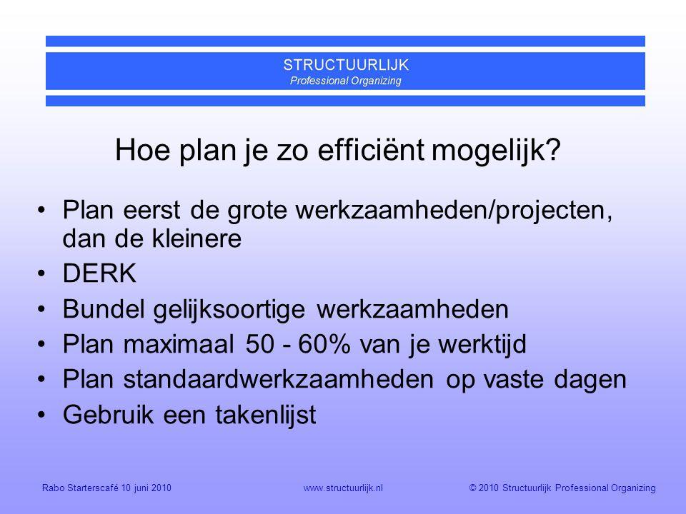 © 2010 Structuurlijk Professional OrganizingRabo Starterscafé 10 juni 2010www.structuurlijk.nl Hoe plan je zo efficiënt mogelijk.
