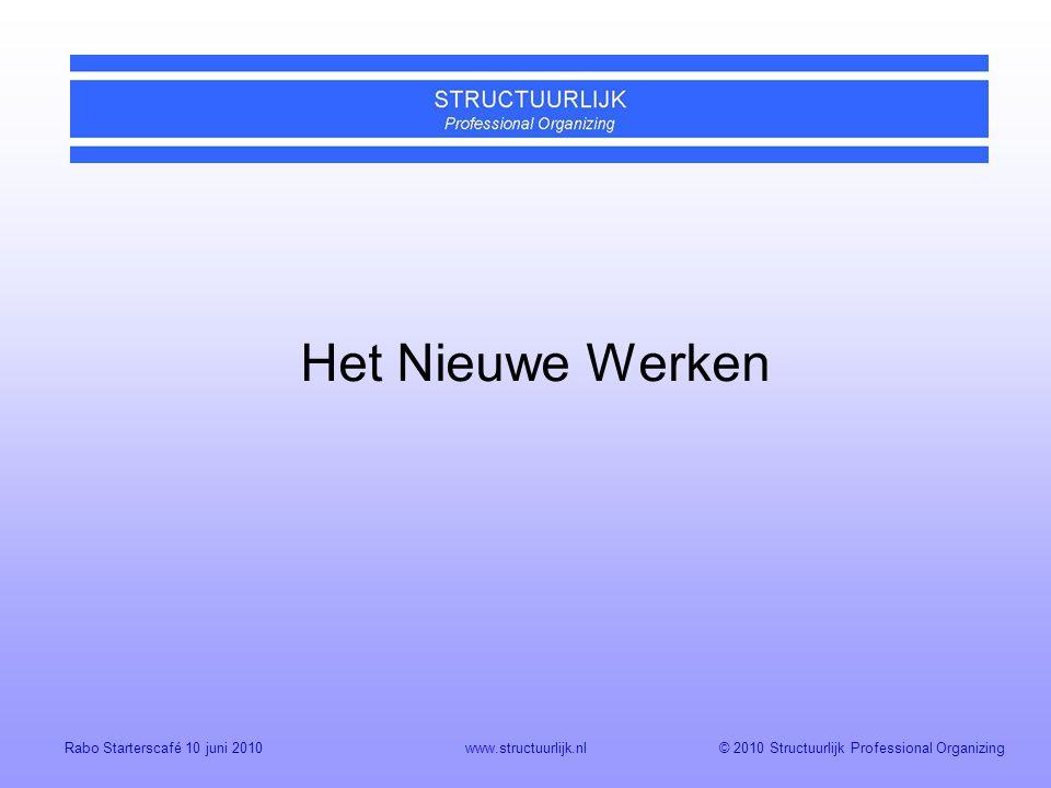 © 2010 Structuurlijk Professional OrganizingRabo Starterscafé 10 juni 2010www.structuurlijk.nl Het Nieuwe Werken
