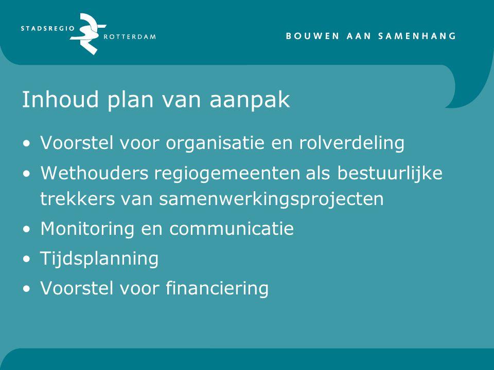 Inhoud plan van aanpak Voorstel voor organisatie en rolverdeling Wethouders regiogemeenten als bestuurlijke trekkers van samenwerkingsprojecten Monitoring en communicatie Tijdsplanning Voorstel voor financiering