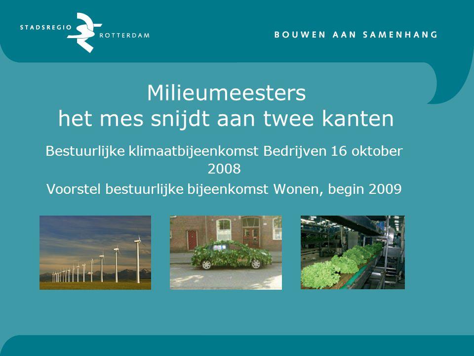 Milieumeesters het mes snijdt aan twee kanten Bestuurlijke klimaatbijeenkomst Bedrijven 16 oktober 2008 Voorstel bestuurlijke bijeenkomst Wonen, begin 2009