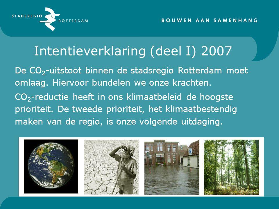Intentieverklaring (deel I) 2007 De CO 2 -uitstoot binnen de stadsregio Rotterdam moet omlaag.