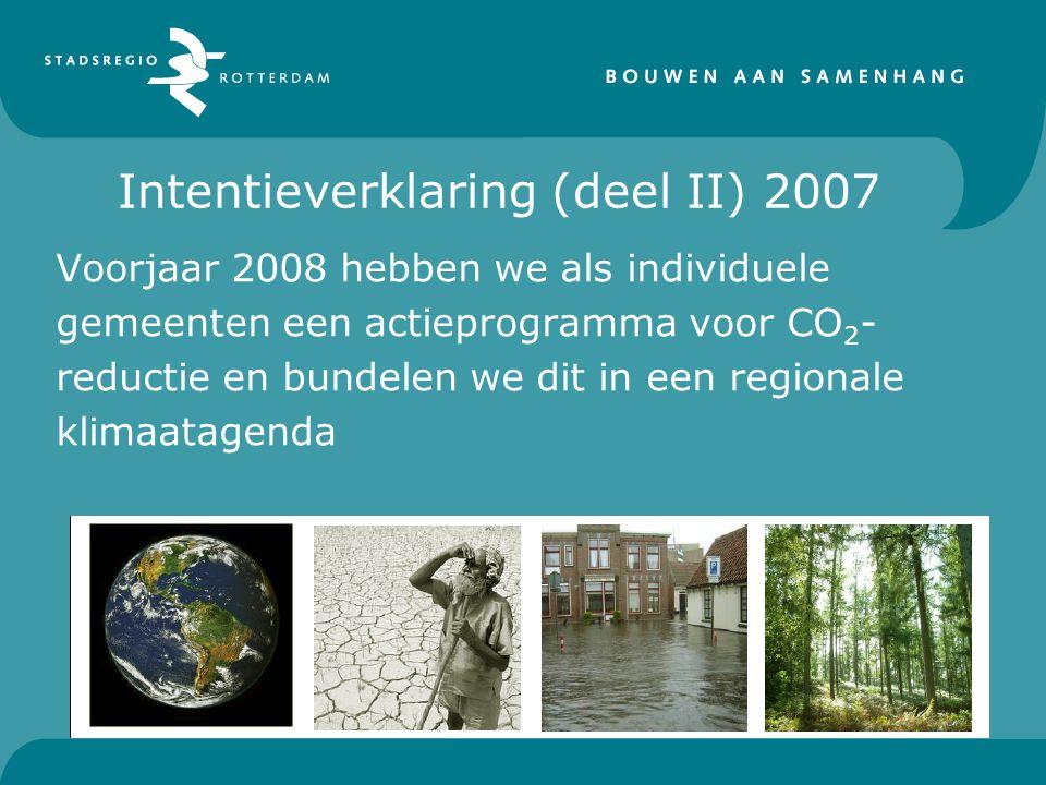 Intentieverklaring (deel II) 2007 Voorjaar 2008 hebben we als individuele gemeenten een actieprogramma voor CO 2 - reductie en bundelen we dit in een regionale klimaatagenda