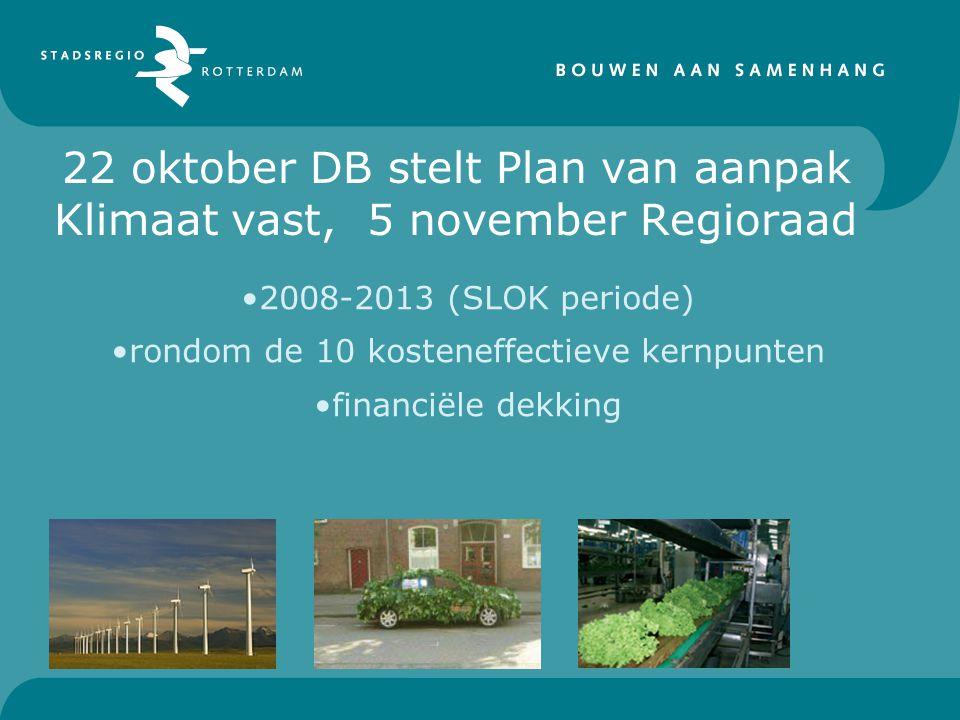 22 oktober DB stelt Plan van aanpak Klimaat vast, 5 november Regioraad 2008-2013 (SLOK periode) rondom de 10 kosteneffectieve kernpunten financiële dekking
