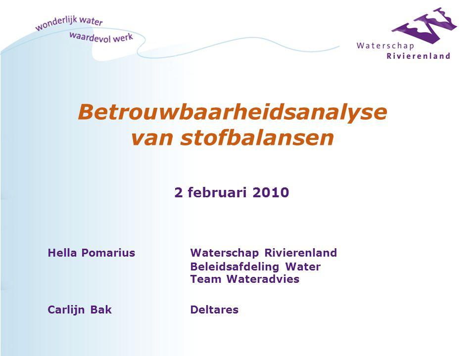 Betrouwbaarheidsanalyse van stofbalansen Hella PomariusWaterschap Rivierenland Beleidsafdeling Water Team Wateradvies Carlijn BakDeltares 2 februari 2010