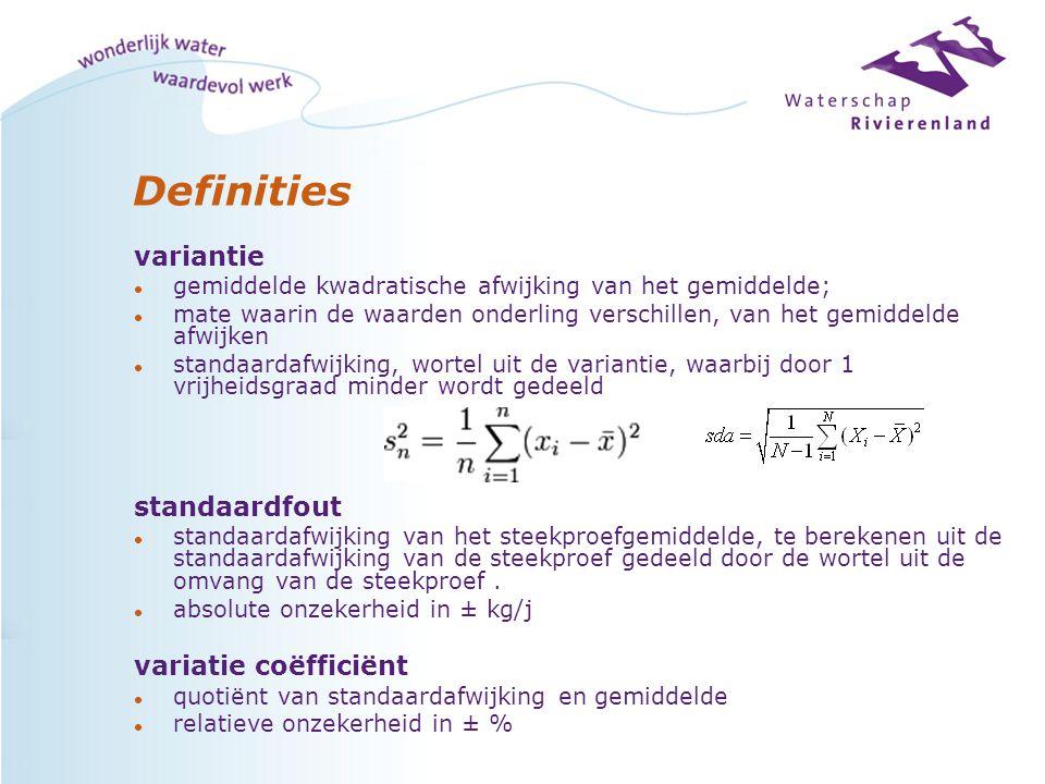 Definities variantie l gemiddelde kwadratische afwijking van het gemiddelde; l mate waarin de waarden onderling verschillen, van het gemiddelde afwijken l standaardafwijking, wortel uit de variantie, waarbij door 1 vrijheidsgraad minder wordt gedeeld standaardfout l standaardafwijking van het steekproefgemiddelde, te berekenen uit de standaardafwijking van de steekproef gedeeld door de wortel uit de omvang van de steekproef.