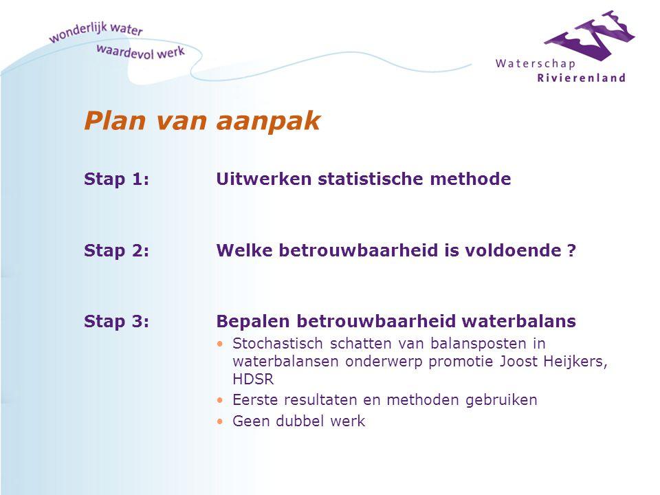 Plan van aanpak Stap 1: Uitwerken statistische methode Stap 2: Welke betrouwbaarheid is voldoende .