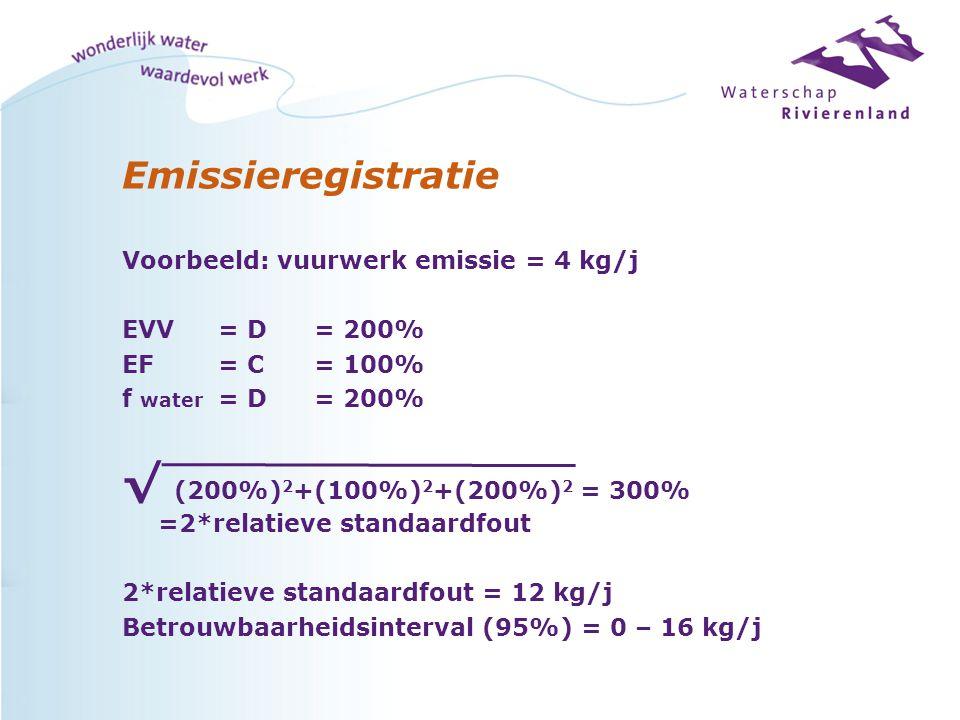Emissieregistratie Voorbeeld: vuurwerk emissie = 4 kg/j EVV = D = 200% EF= C = 100% f water = D = 200% √ (200%) 2 +(100%) 2 +(200%) 2 = 300% =2*relatieve standaardfout 2*relatieve standaardfout = 12 kg/j Betrouwbaarheidsinterval (95%) = 0 – 16 kg/j