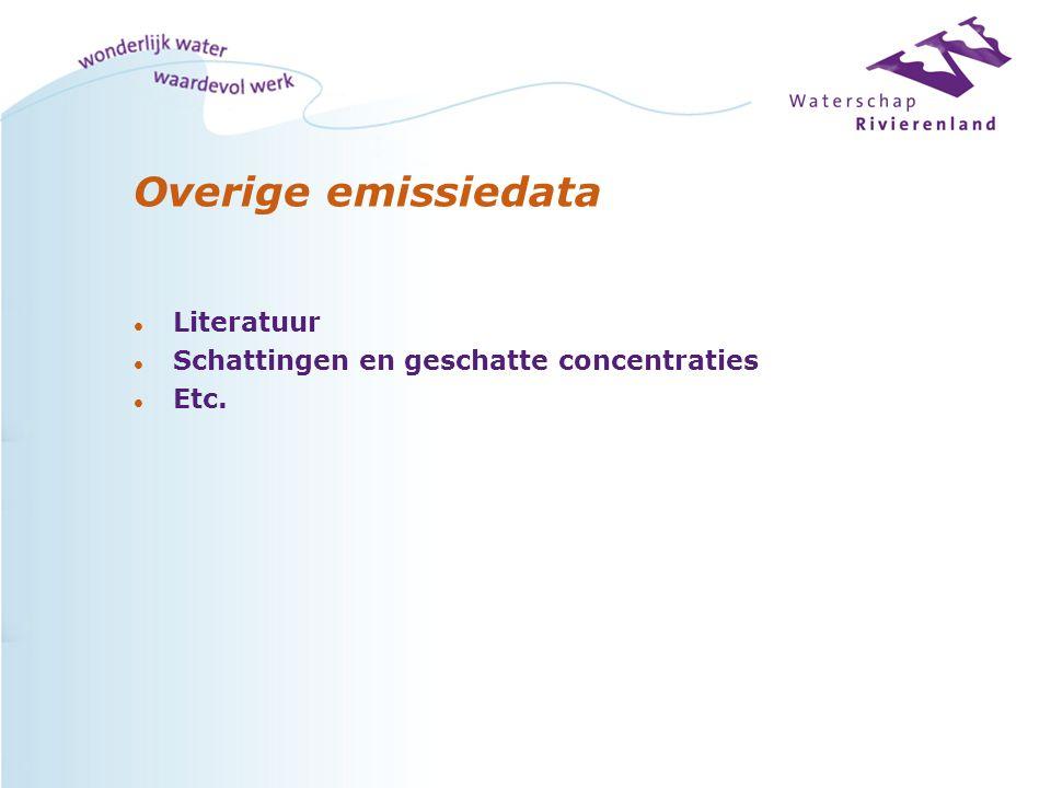 Overige emissiedata l Literatuur l Schattingen en geschatte concentraties l Etc.