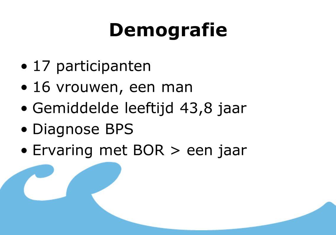 Demografie 17 participanten 16 vrouwen, een man Gemiddelde leeftijd 43,8 jaar Diagnose BPS Ervaring met BOR > een jaar