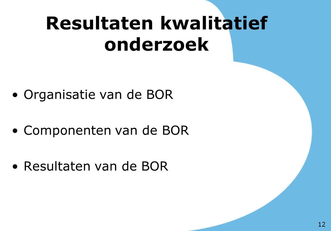 Resultaten kwalitatief onderzoek Organisatie van de BOR Componenten van de BOR Resultaten van de BOR 12