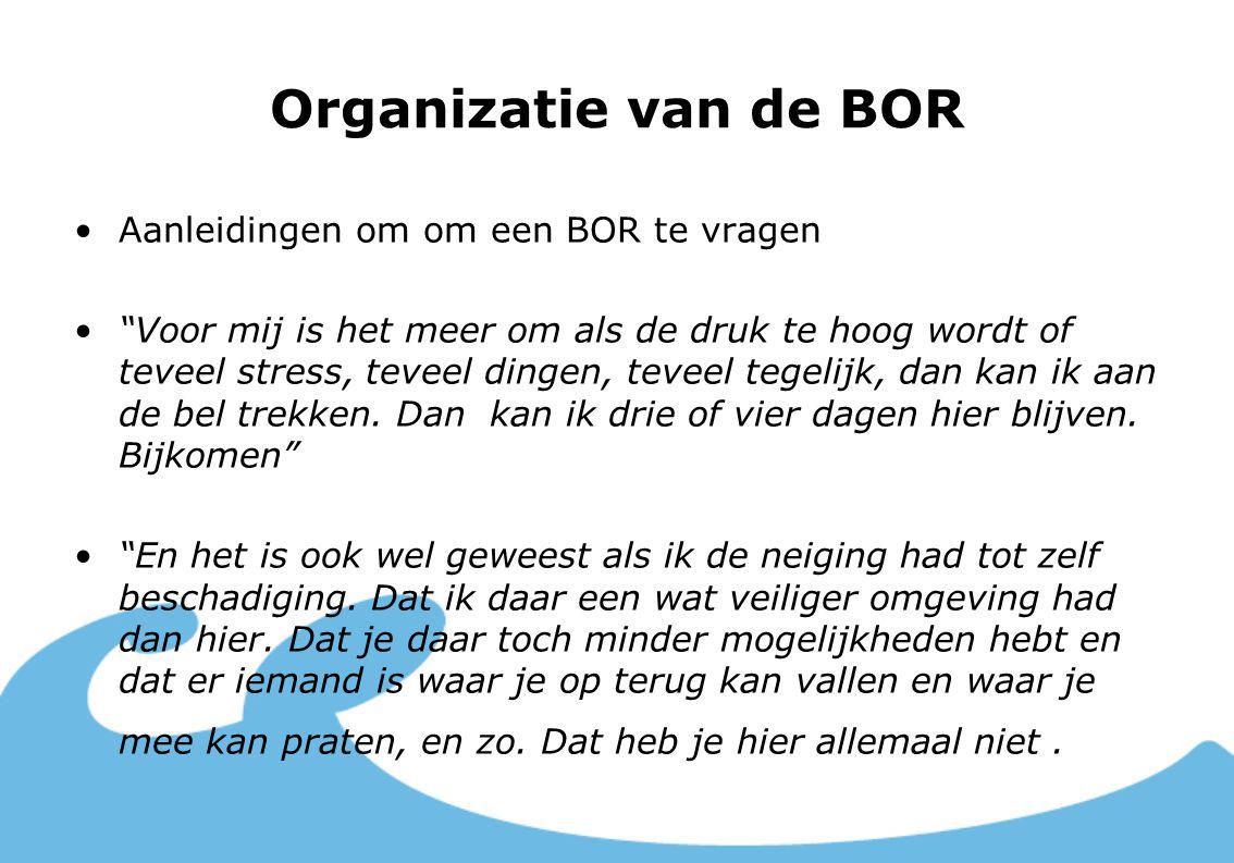"""Organizatie van de BOR Aanleidingen om om een BOR te vragen """"Voor mij is het meer om als de druk te hoog wordt of teveel stress, teveel dingen, teveel"""