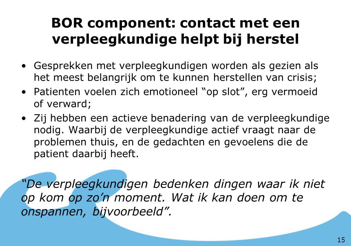 BOR component: contact met een verpleegkundige helpt bij herstel Gesprekken met verpleegkundigen worden als gezien als het meest belangrijk om te kunn