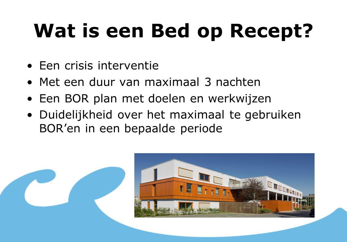 Wat is een Bed op Recept? Een crisis interventie Met een duur van maximaal 3 nachten Een BOR plan met doelen en werkwijzen Duidelijkheid over het maxi
