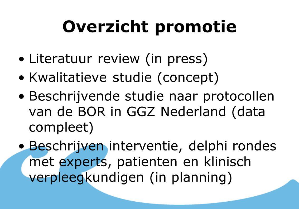 Overzicht promotie Literatuur review (in press) Kwalitatieve studie (concept) Beschrijvende studie naar protocollen van de BOR in GGZ Nederland (data compleet) Beschrijven interventie, delphi rondes met experts, patienten en klinisch verpleegkundigen (in planning)
