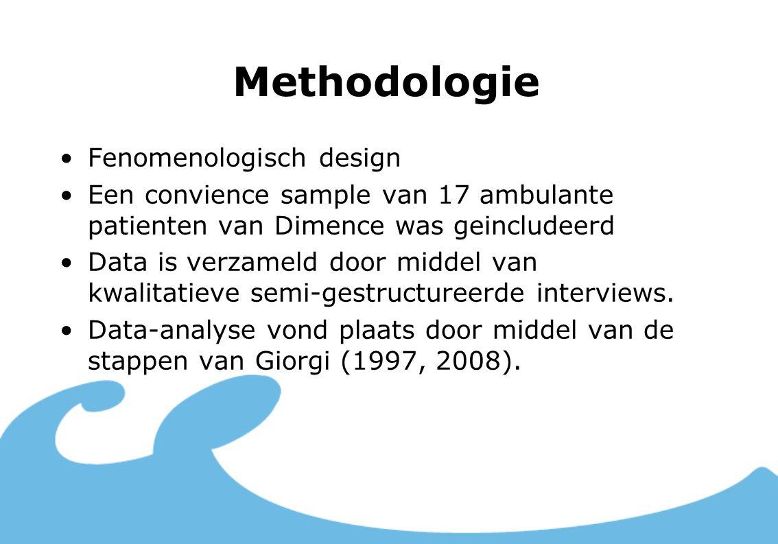 Methodologie Fenomenologisch design Een convience sample van 17 ambulante patienten van Dimence was geincludeerd Data is verzameld door middel van kwa